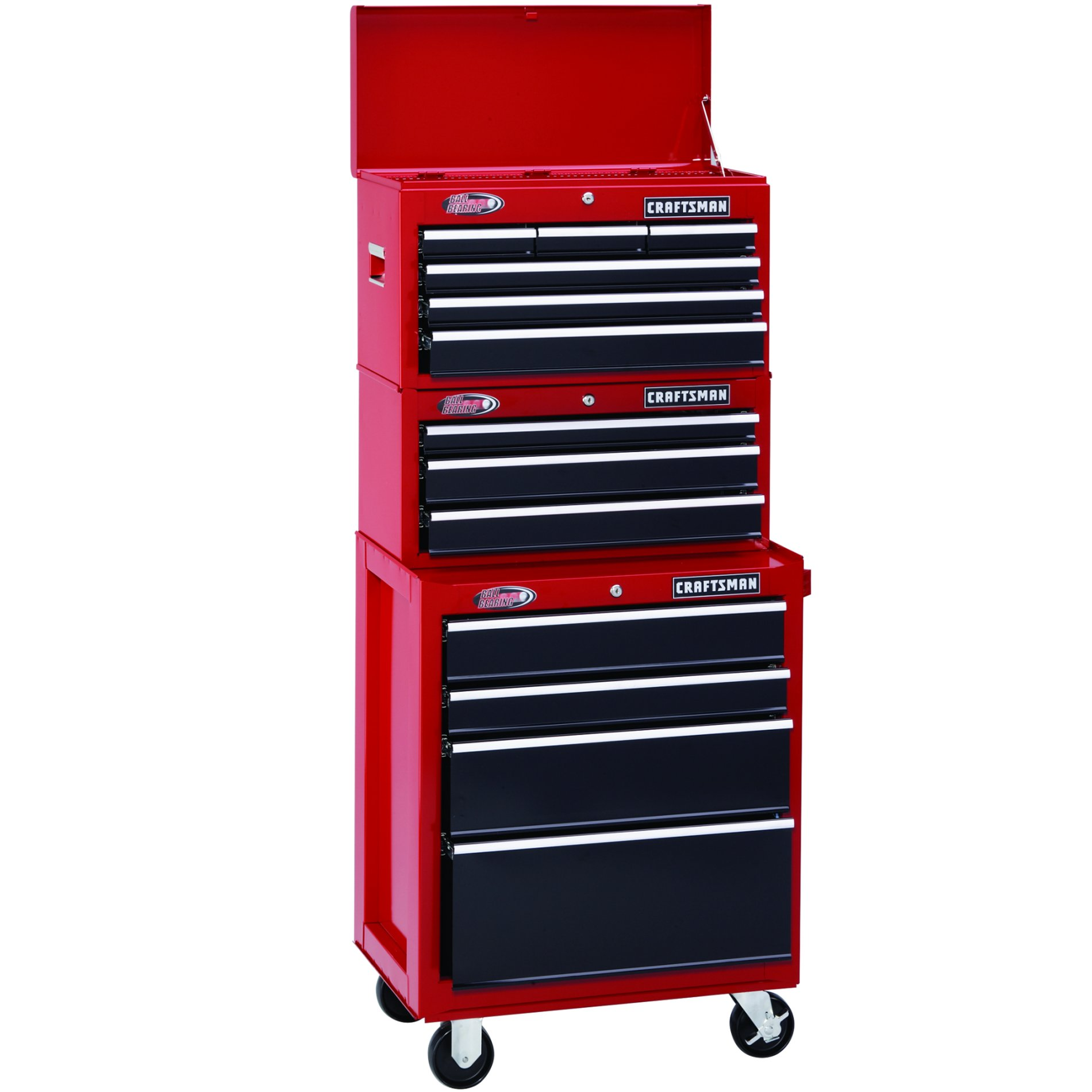"Craftsman 26"" Wide 3-Drawer Ball-Bearing Middle Chest - Red/Black"