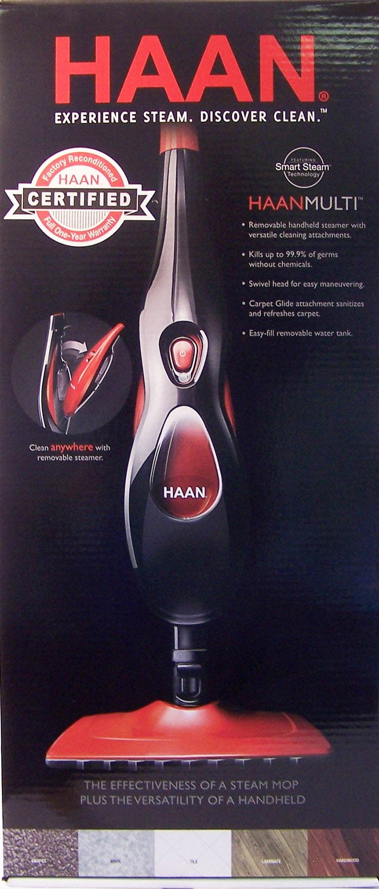 Haan Red Refurbished Steam Mop w/Removable Handheld Steamer