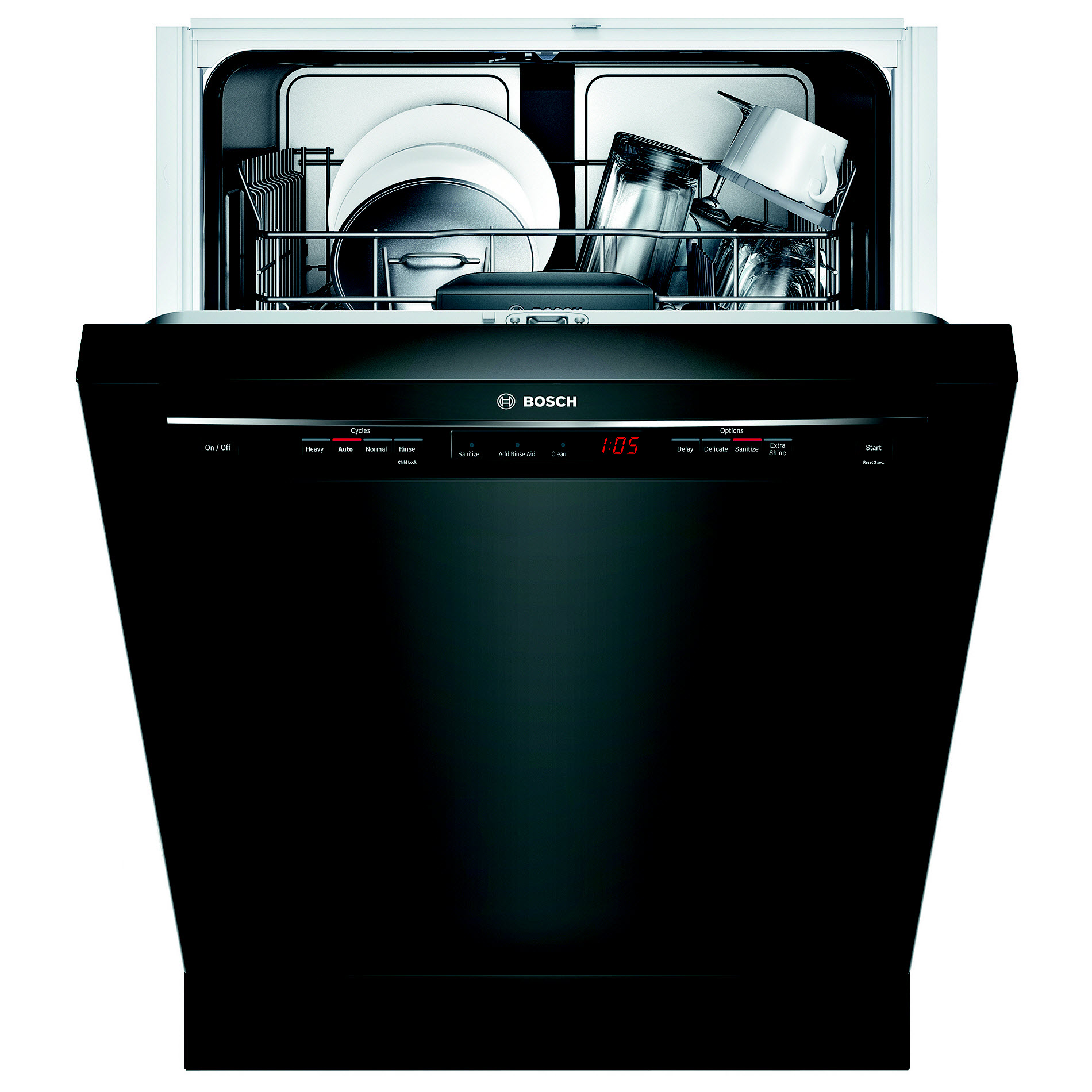 "Bosch SHE53T56UC 24"" 300 Series Built-In Dishwasher - Black"