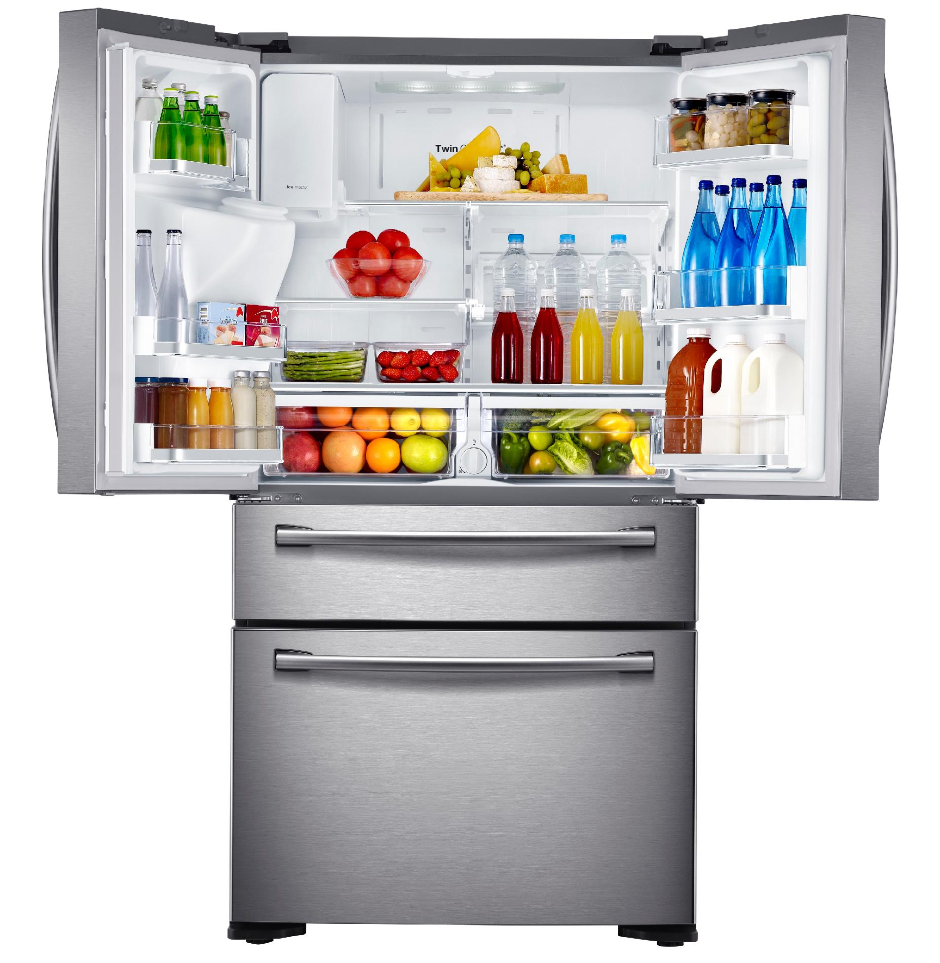 Samsung 24 cu. ft. Counter-Depth 4-Door Refrigerator w/ FlexZone™ Drawer - Stainless Steel