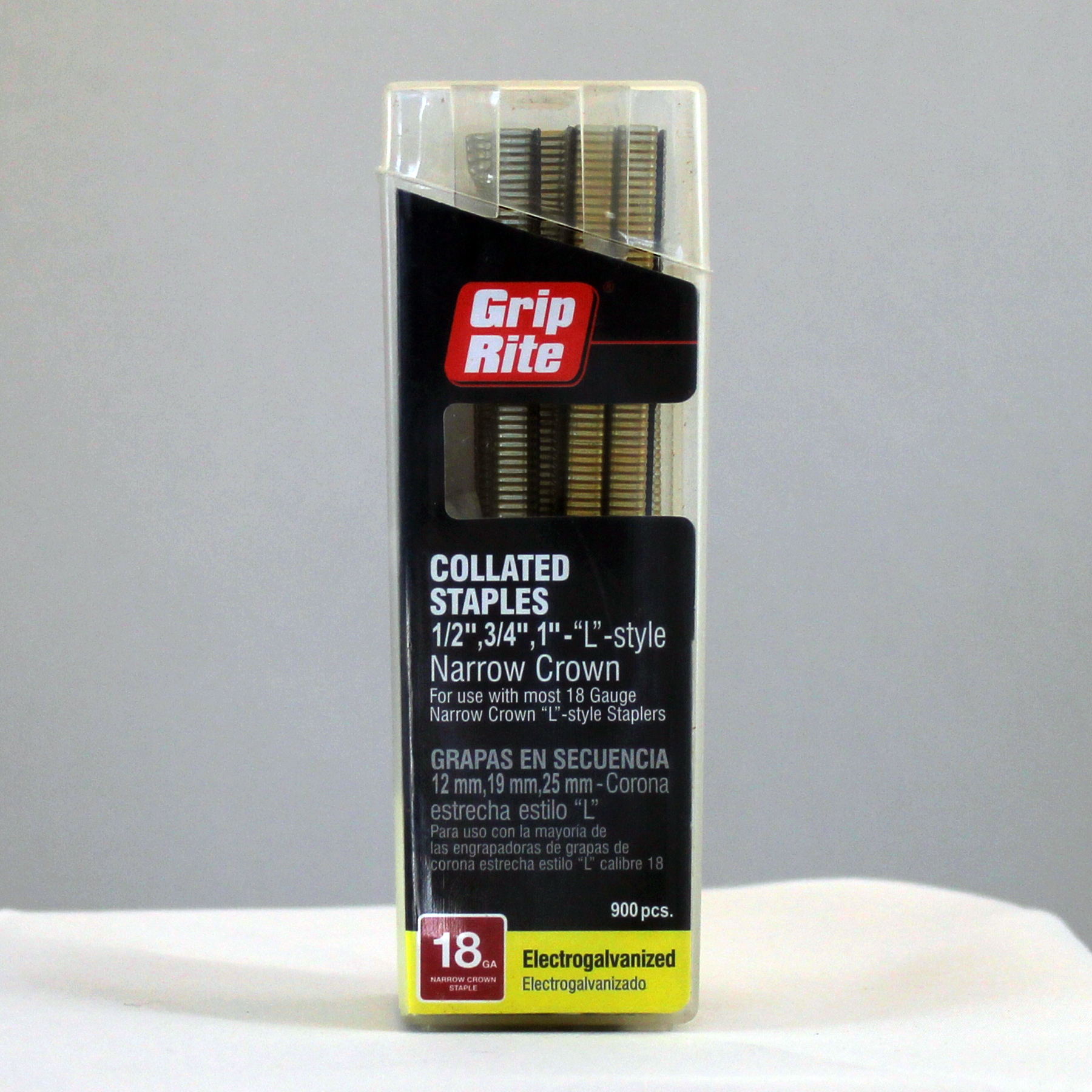 "Grip Rite 18 Gauge Collated Staples Mix Pack, 1/2"", 3/4"", 1"" - ""L"" Style, 1/4"" Narrow Crown"