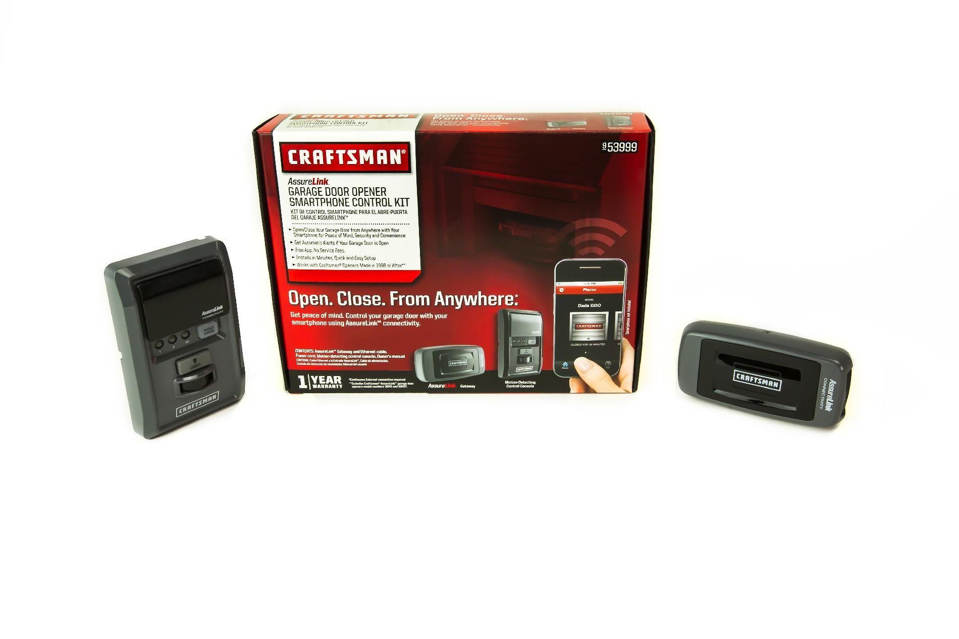 Craftsman AssureLink™ Garage Door Opener Smartphone Control Kit (No service fees  free app download)
