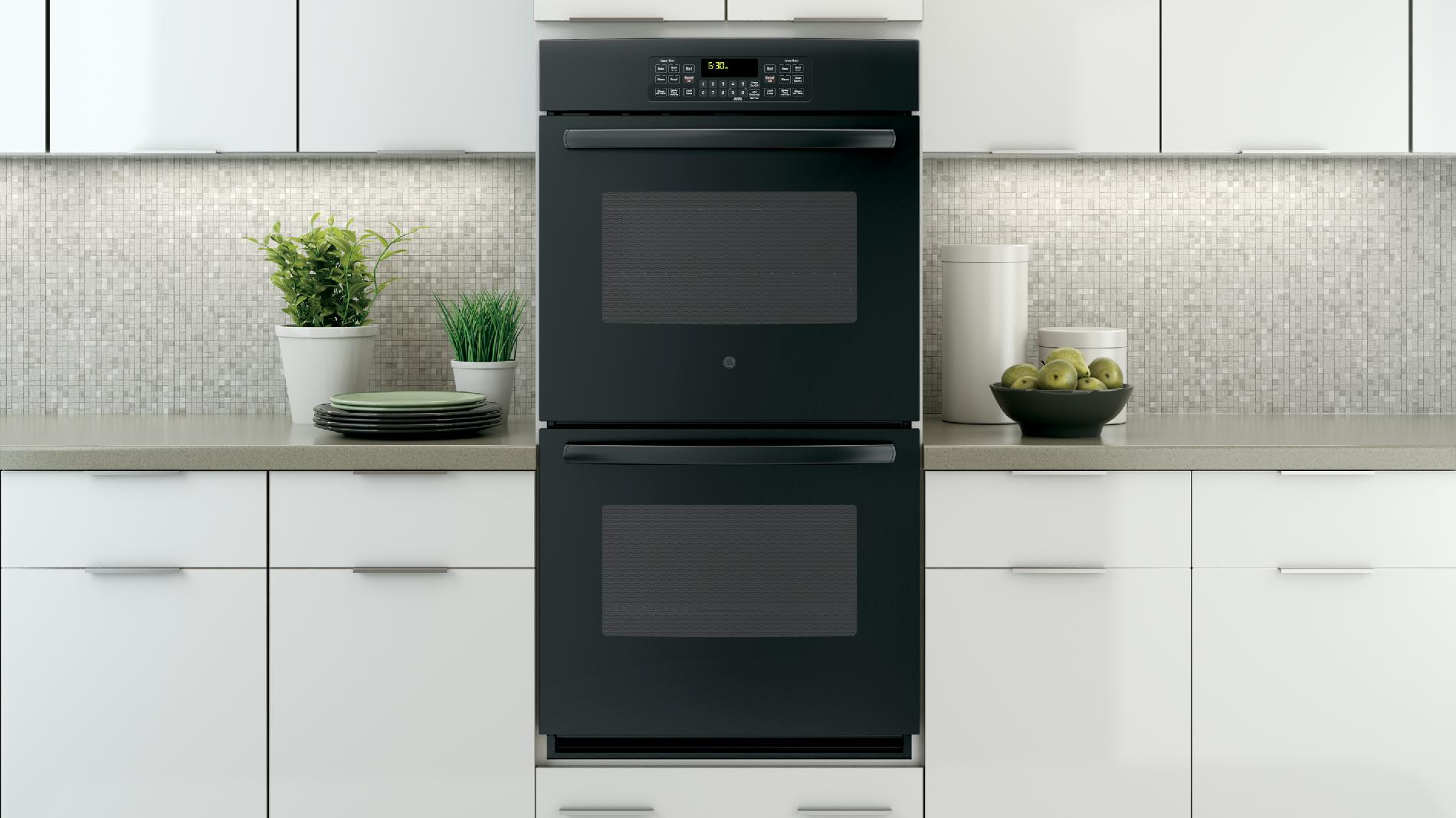 """GE 27"""" Electric Double Wall Oven - Black"""