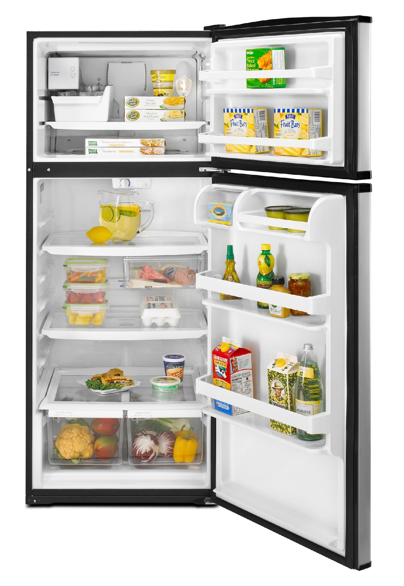 Whirlpool 17.5 cu. ft. Top-Freezer Refrigerator w/ Contour Doors, Ice Maker - Black