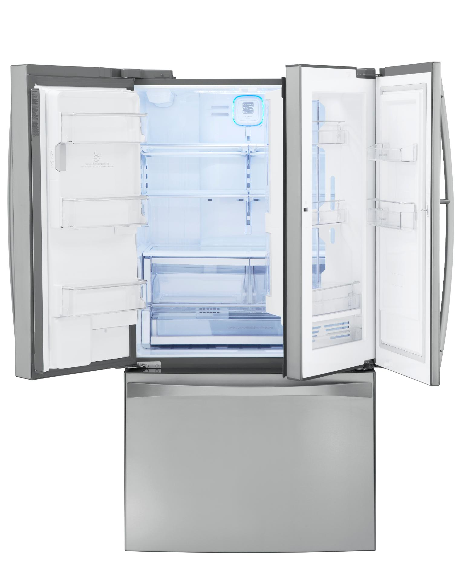 Kenmore Elite 25 cu. ft. Counter-Depth Grab-N-Go™ French Door Bottom-Freezer Refrigerator - Stainless Steel