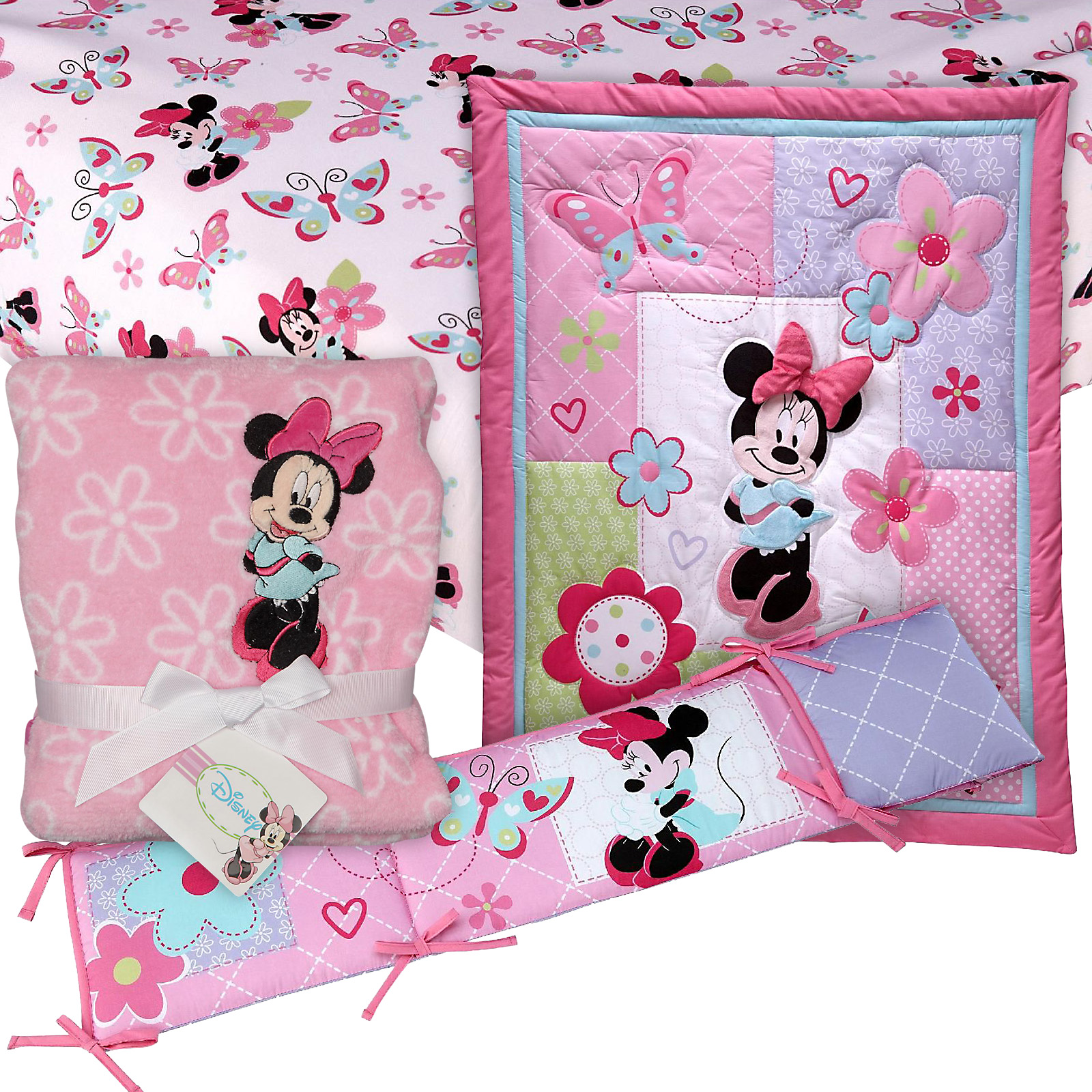Minnie Mouse 4 PC. Crib Set with Sheet & Blanket Baby Bundle