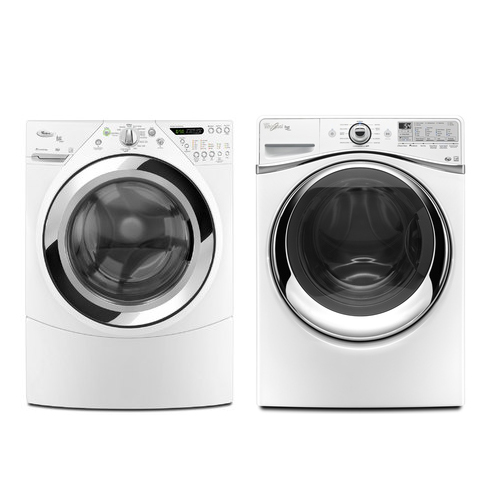 Whirlpool 3.9 cu. ft. High-Efficiency Front-Load Washer & 7.2+ cu. ft. Steam Dryer