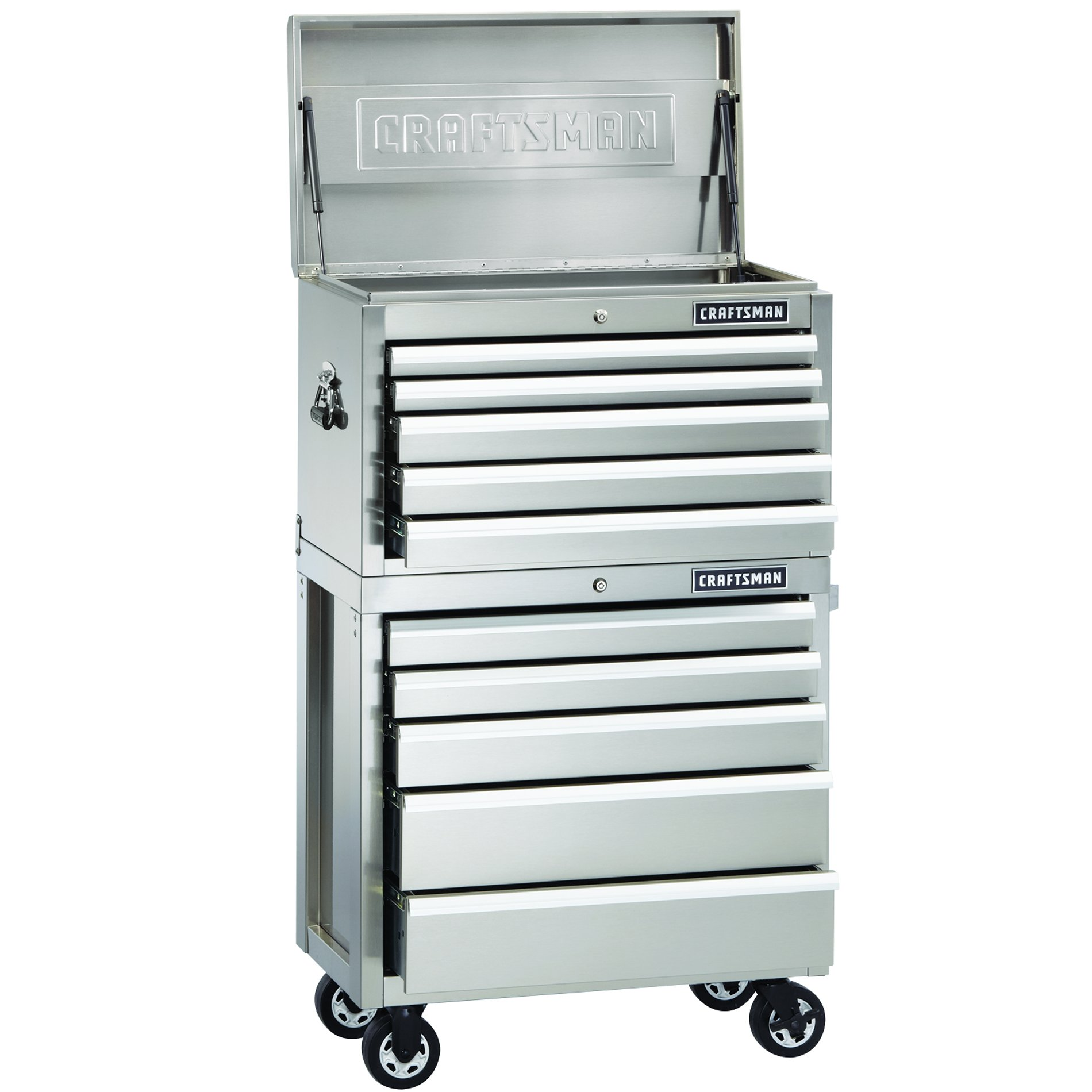 Craftsman 32-Inch 5-Drawer Premium Heavy-Duty Rolling Cabinet - Stainless Steel