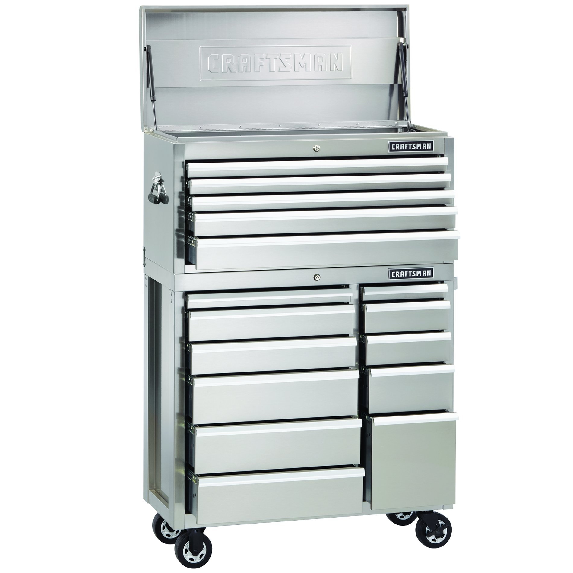 Craftsman 40-Inch Premium Heavy-Duty  Rolling Cabinet - Stainless Steel
