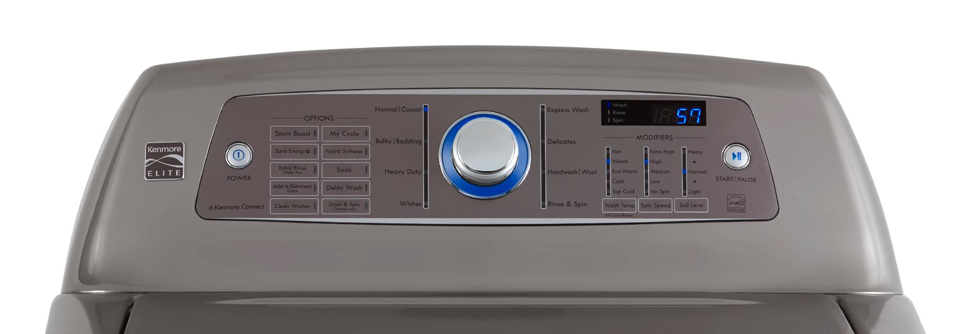 Kenmore Elite 4.7 cu. ft. High-Efficiency Top-Load Washer - Metallic Silver