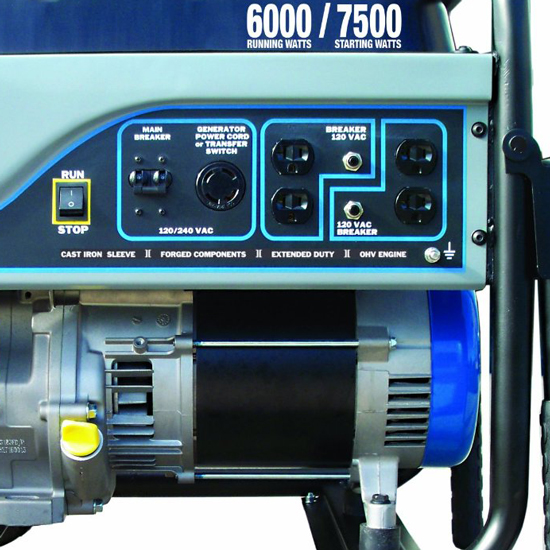 Westinghouse Portable Generator with 6000 Running Watts, 7500 Starting Watts and 25ft Power Cord