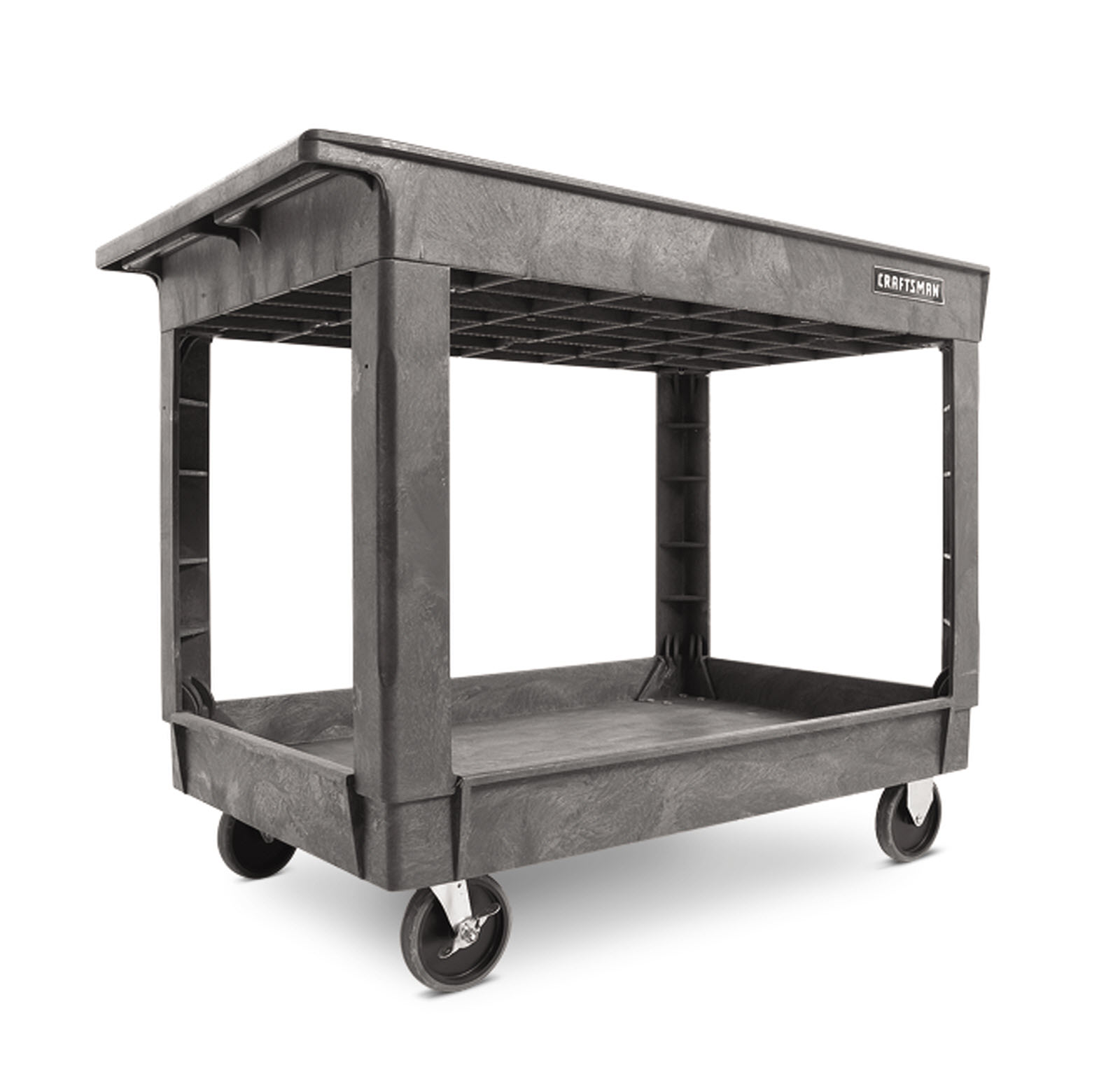 "Craftsman 34-1/2"" 2-Shelf Heavy-Duty Plastic Utility Cart"