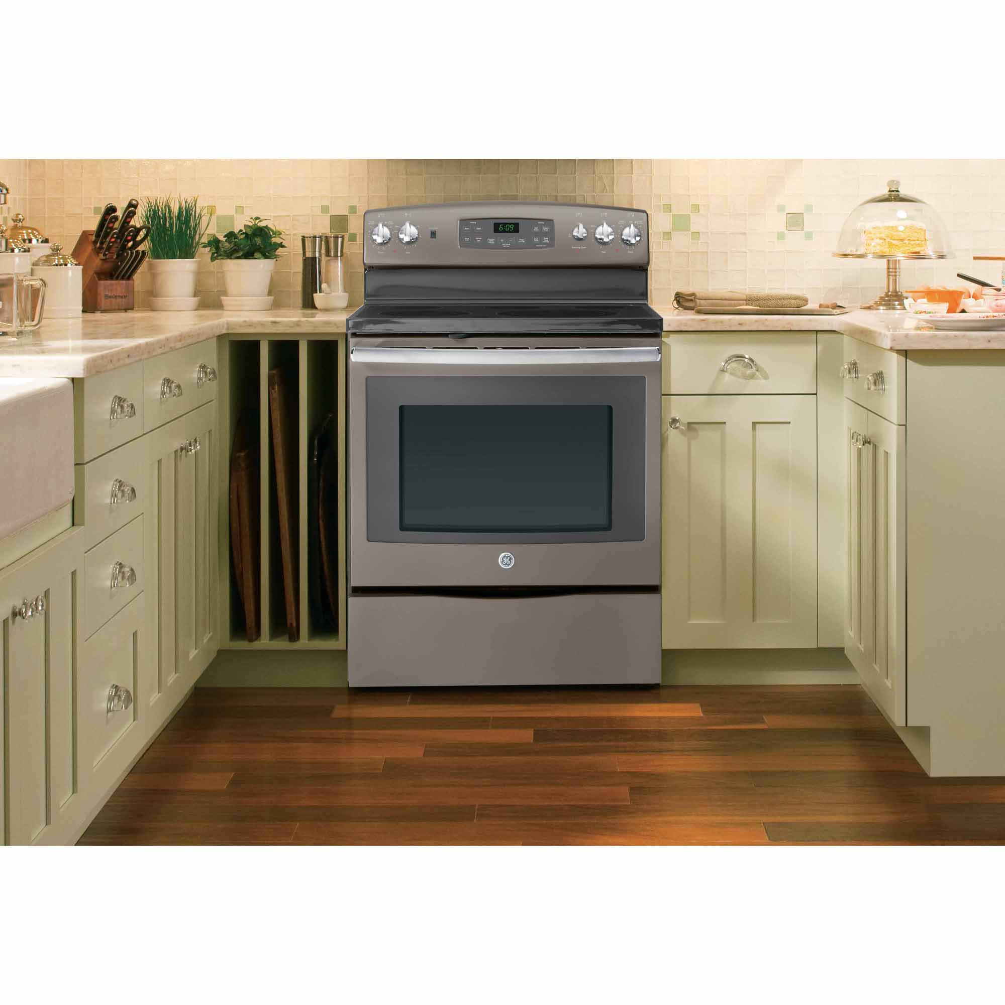 GE 5.3 cu. ft. Electric Range w/ Convection Oven - Slate