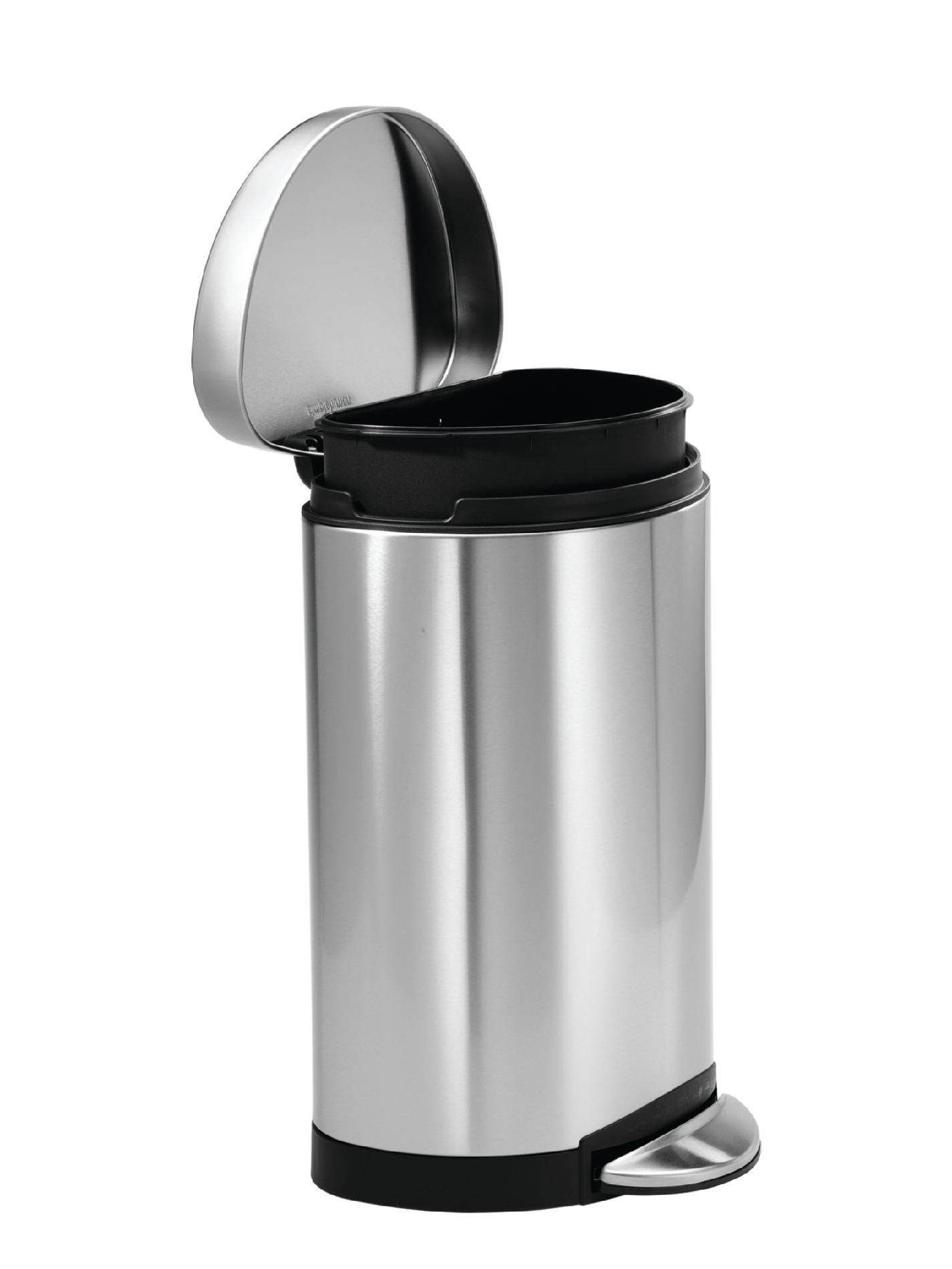 simplehuman Semi-Round Step Trash Can, Fingerprint-Proof Brushed Stainless Steel, 10 Liters /2.6 Gallons