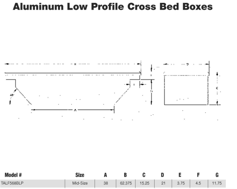 Tradesman TALF568BLPBK 63-Inch Low Profile Aluminum Cross Bed Truck Tool Box, Diamond Plated, Black
