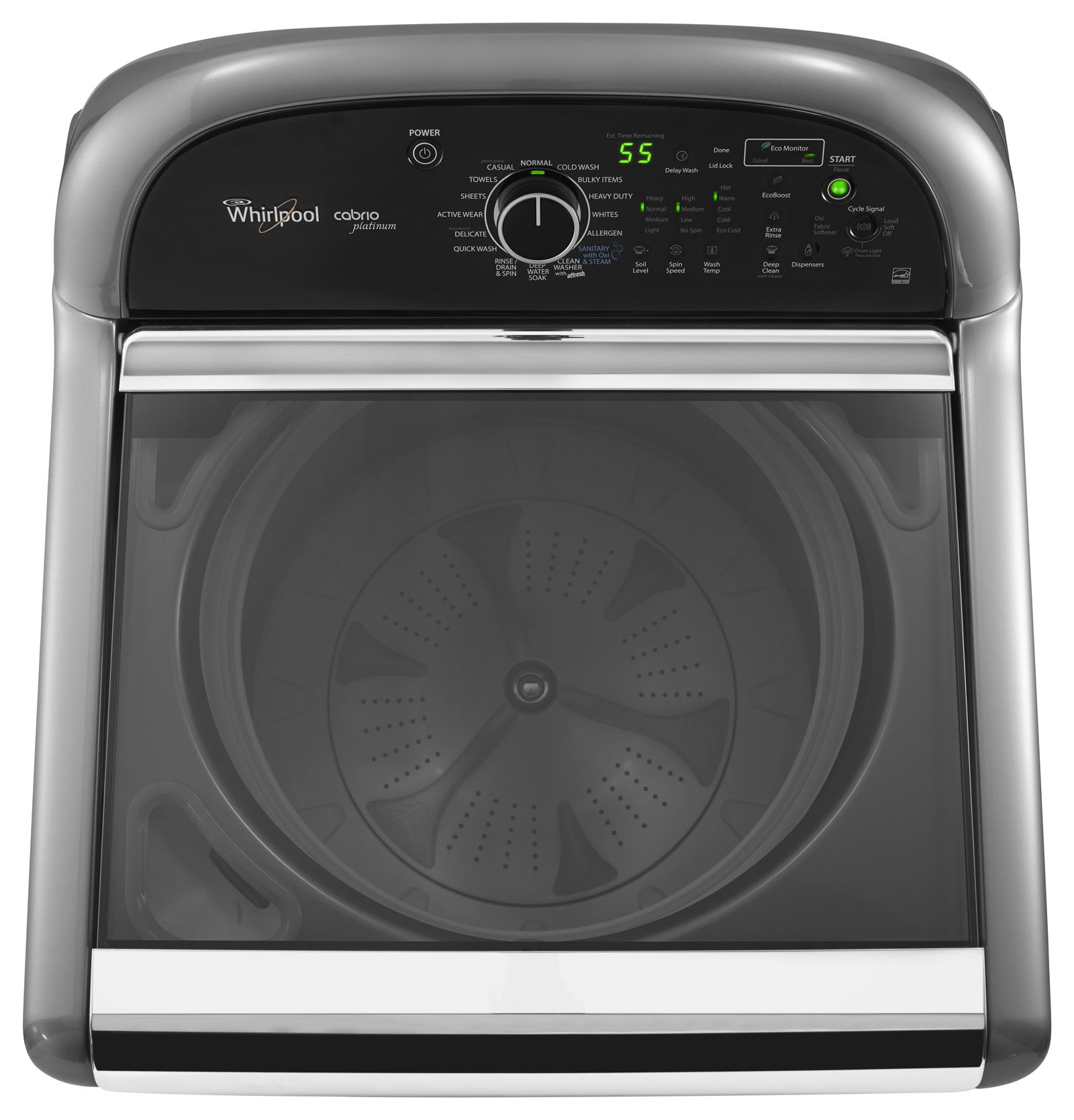 Whirlpool 4.8 cu. ft. Cabrio® Platinum HE Top-Load Washer w/ Sanitary Cycle - Chrome Shadow