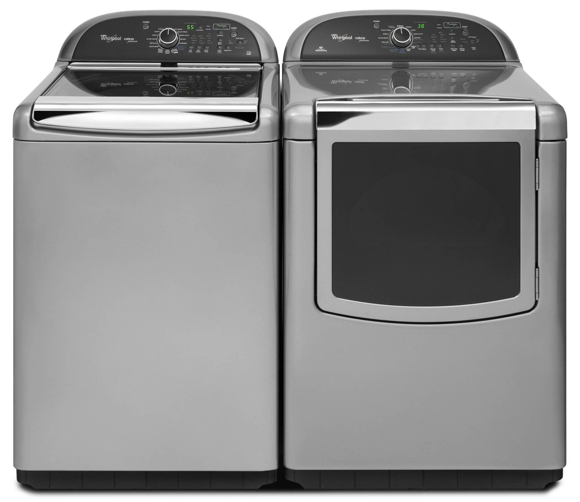 Whirlpool 7.6 cu. ft. Cabrio® Platinum Gas Dryer with Enhanced Touch Up Steam Cycle - Chrome Shadow