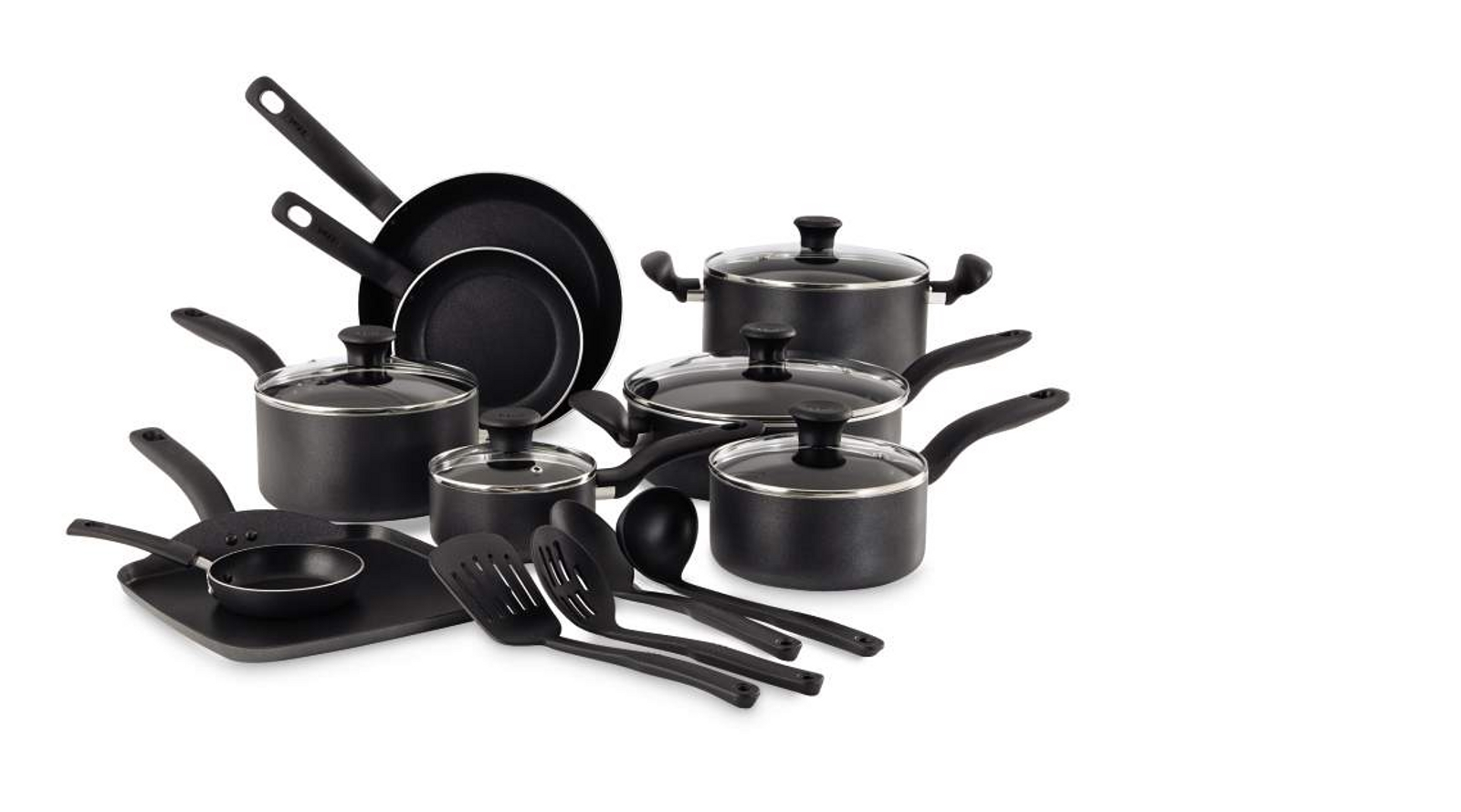 T-fal Initiatives 18-Piece Nonstick Inside and Out Cookware Set, Gray