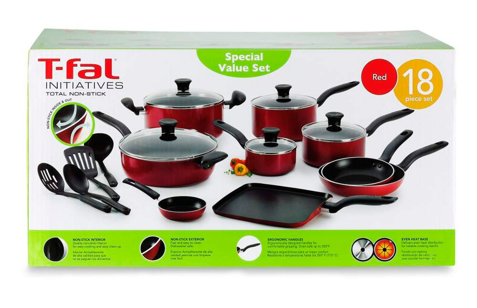 T-fal Initiatives 18-Piece Nonstick Inside and Out Cookware Set, Red