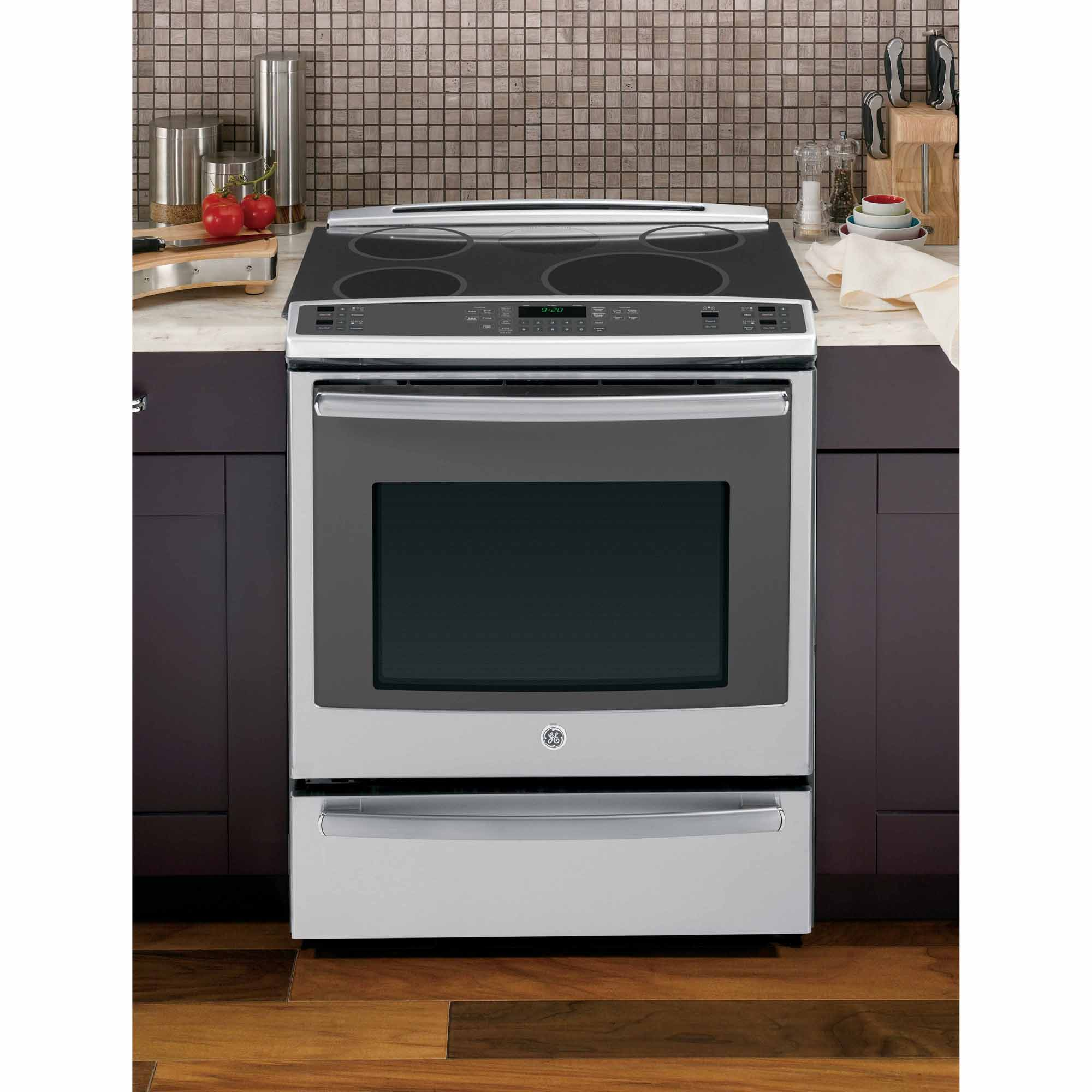 "GE Profile 30"" Slide-In Induction Range w/ True Convection - Stainless Steel"