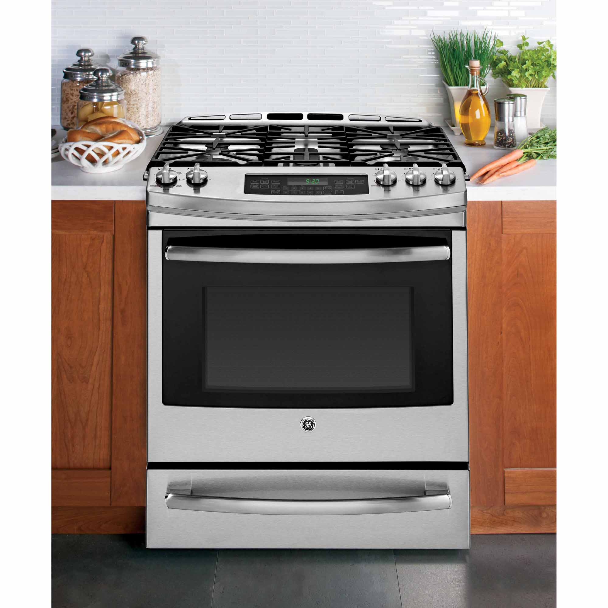 "GE Profile 30"" Dual-Fuel Slide-In Range w/ Warming Drawer - Stainless Steel"