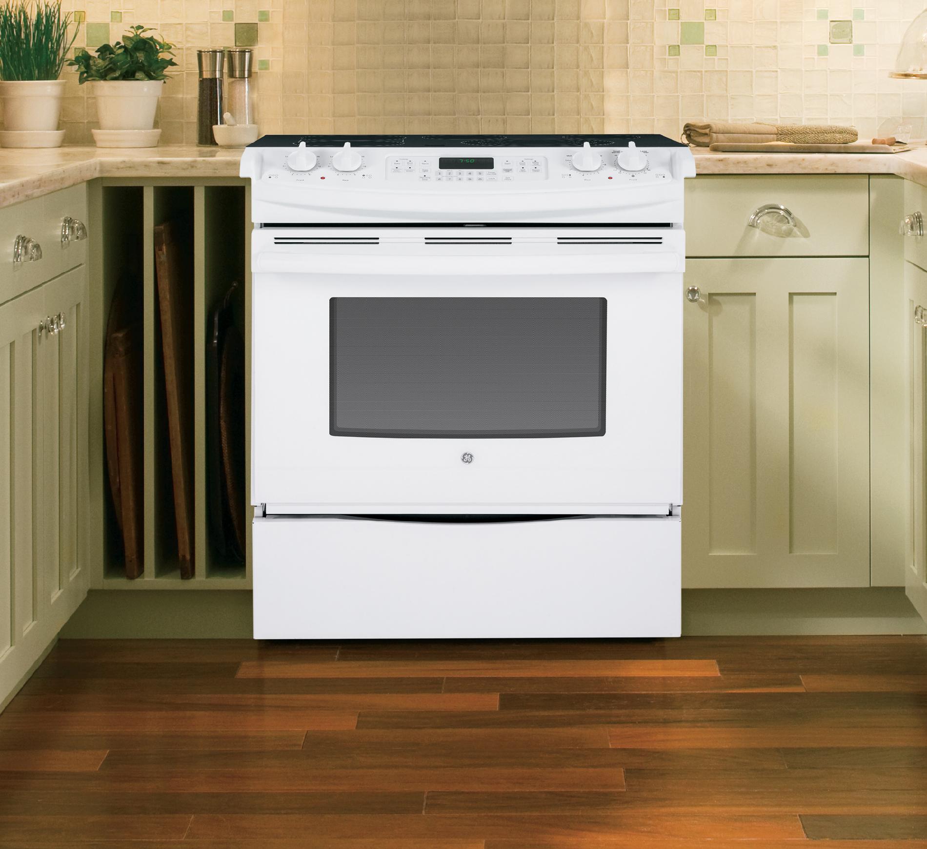 "GE Appliances JS750DFWW 30"" Slide-In Electric Range w/ True Convection - White"