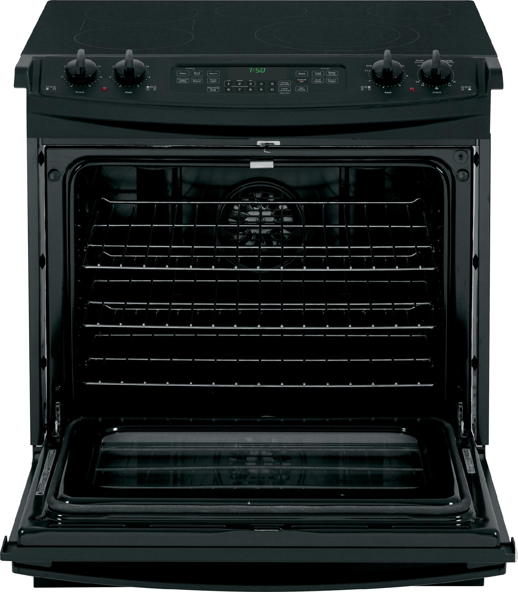 "GE Appliances JS750DFBB 30"" Slide-In Electric Range w/ True Convection - Black"