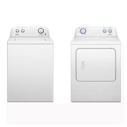 Amana 3.4 cu. ft. White Top Load Washer and 6.5 cu. ft. White Dryer