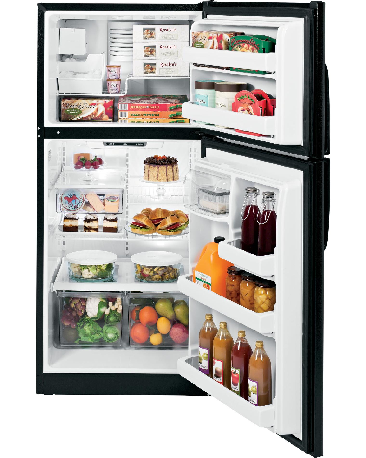 GE 18 cu. ft. Top-Freezer Refrigerator w/ Ice Maker - Black