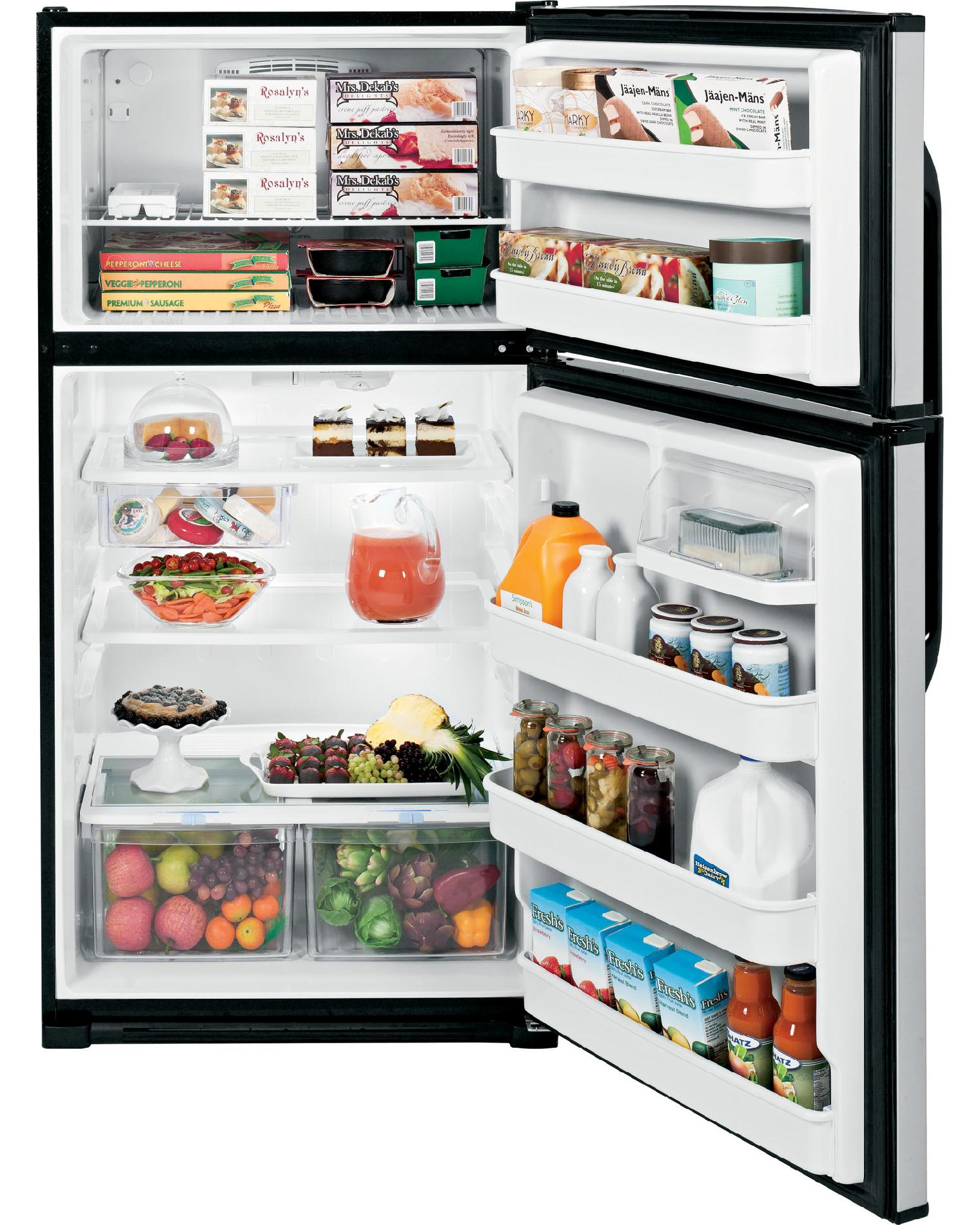 GE 21.0 cu. ft. Top-Freezer Refrigerator - CleanSteel™