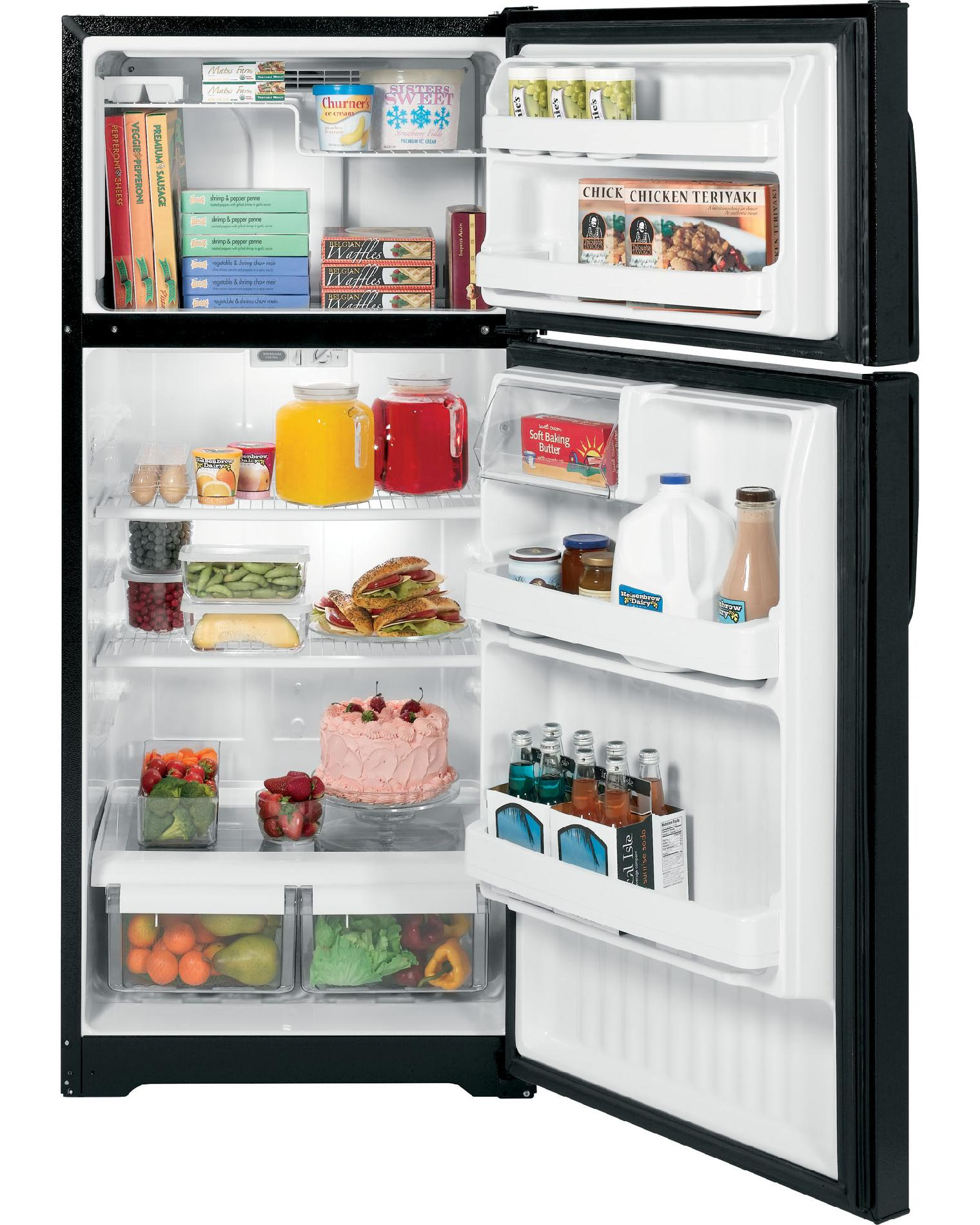 GE 15.5 cu. ft. Top-Freezer Refrigerator - Black