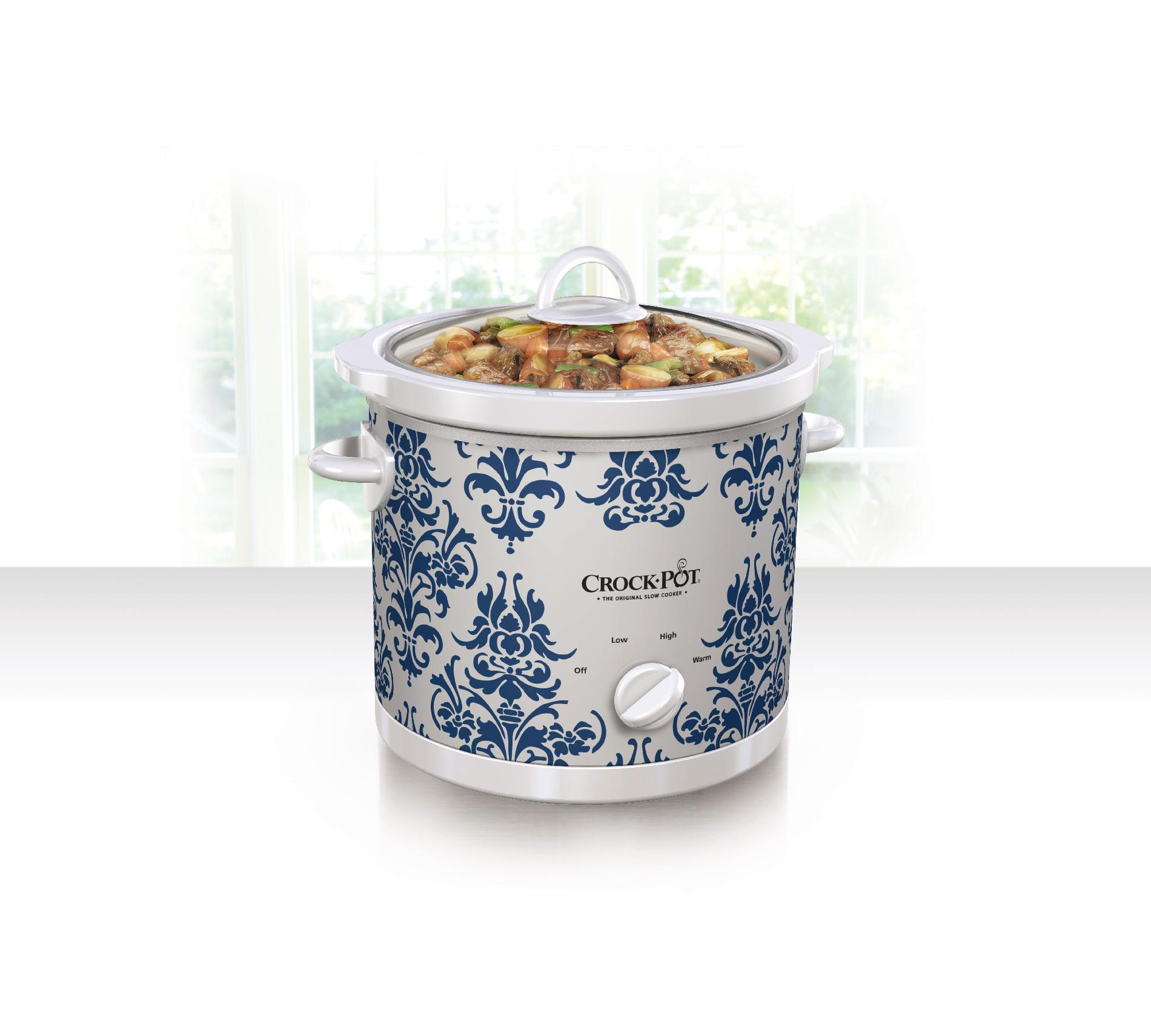 Crock Pot 3 Quart Manual Slow Cooker, Blue Damask