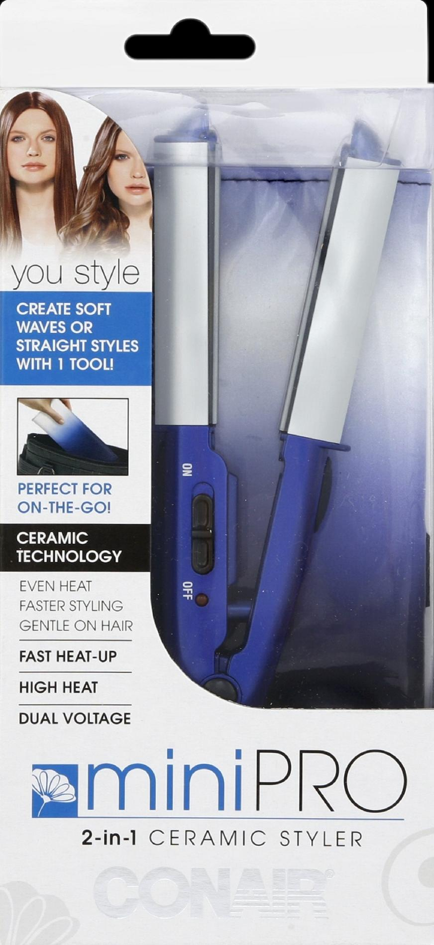 Conair MiniPro Styler, Ceramic, 2-in-1 1 styler