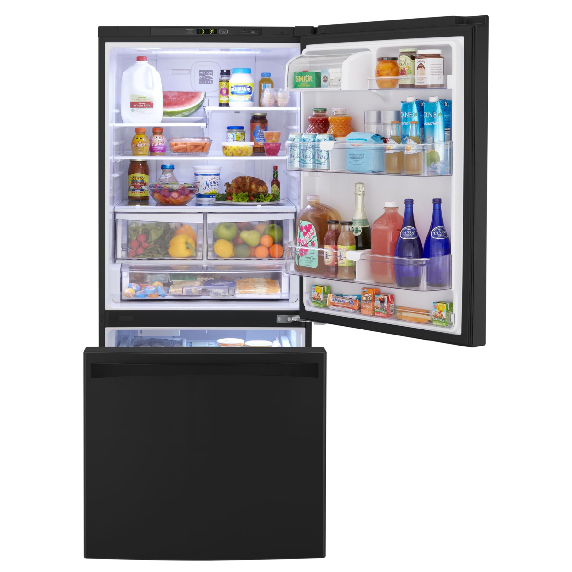 Kenmore Elite 22 cu. ft. Bottom-Freezer Refrigerator – Black