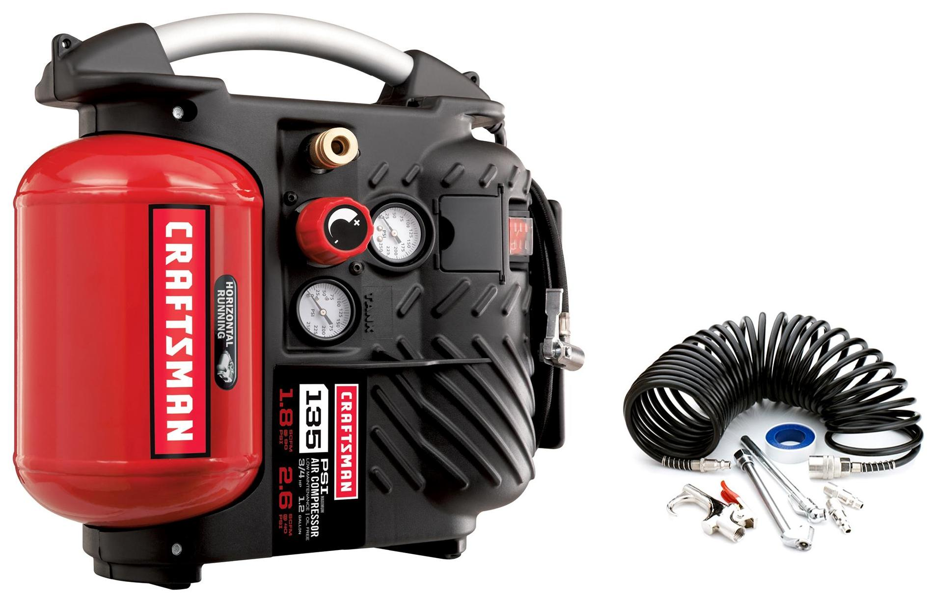 Craftsman 1.2 Gallon AirBoss™ Oil-Free Air Compressor and Hose Kit  135 PSI
