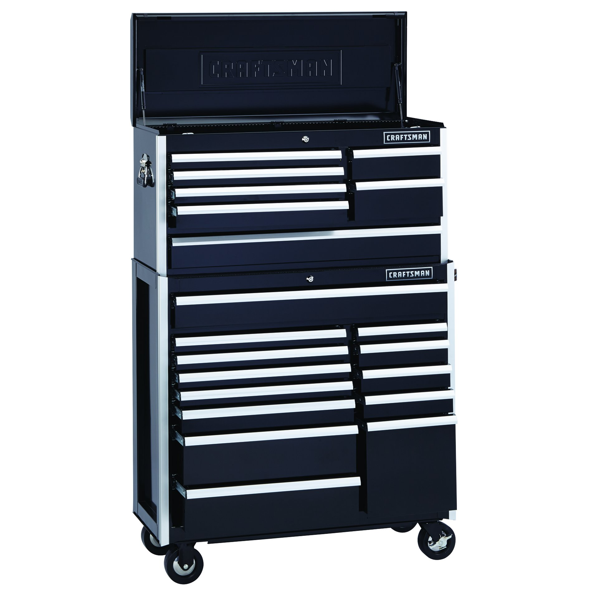 Craftsman EDGE Series 40 In. 13-Drawer Premium Heavy-Duty Ball-Bearing Rolling Cart - Black