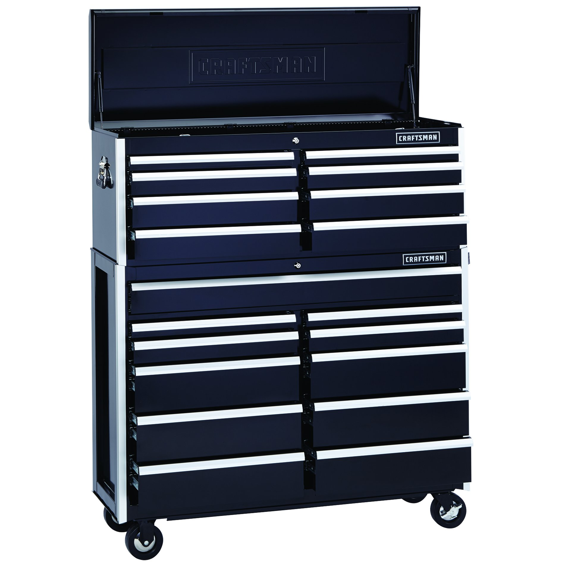 Craftsman EDGE Series 52-In. 11-Drawer Premium Heavy-Duty Ball-Bearing Rolling Cart - Black