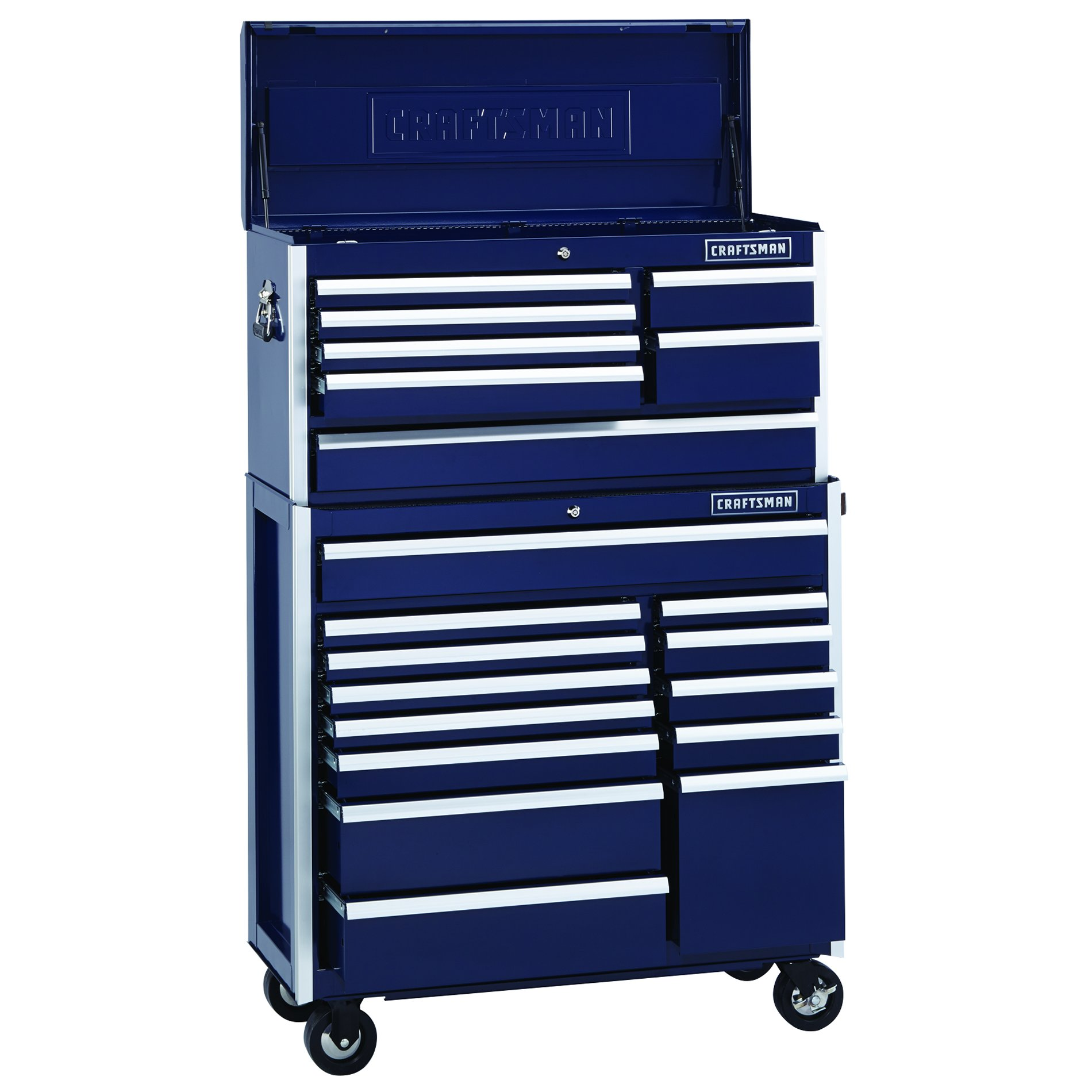 Craftsman EDGE Series 40 In. 13-Drawer Premium Heavy-Duty Ball-Bearing Rolling Cabinet- Midnight Blue