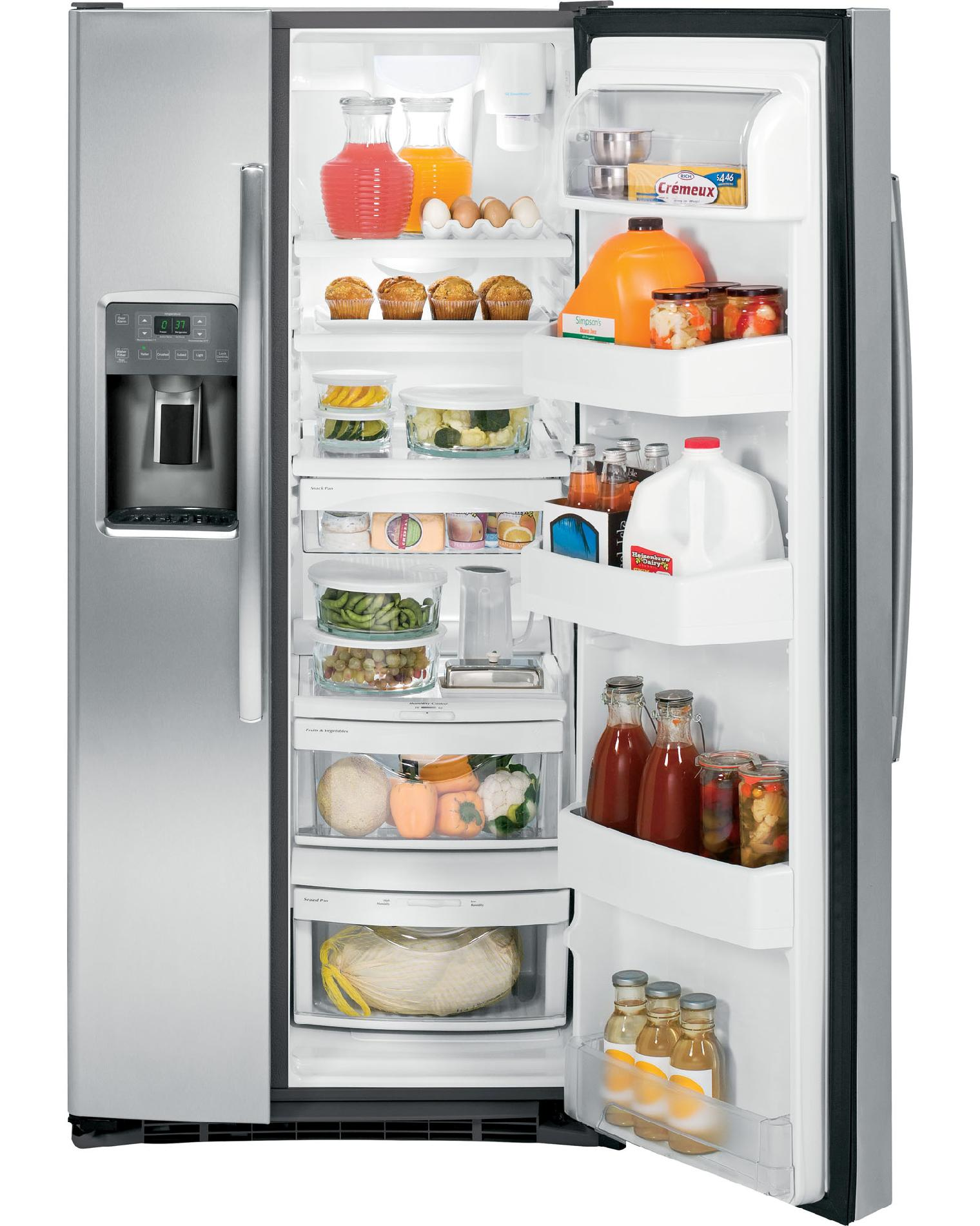 GE Appliances 23.1 cu. ft. Side-By-Side Refrigerator w/ Dispenser – Stainless Steel