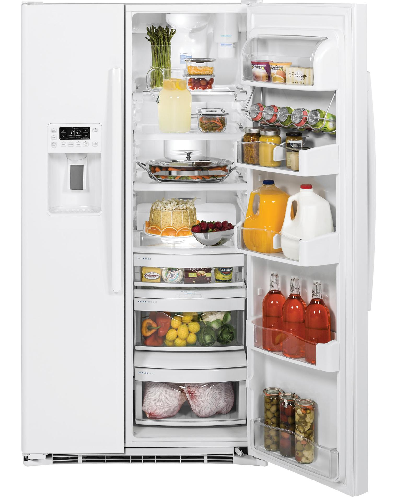 GE Profile 23.3 cu. ft. Counter-Depth Side-by-Side Refrigerator - White