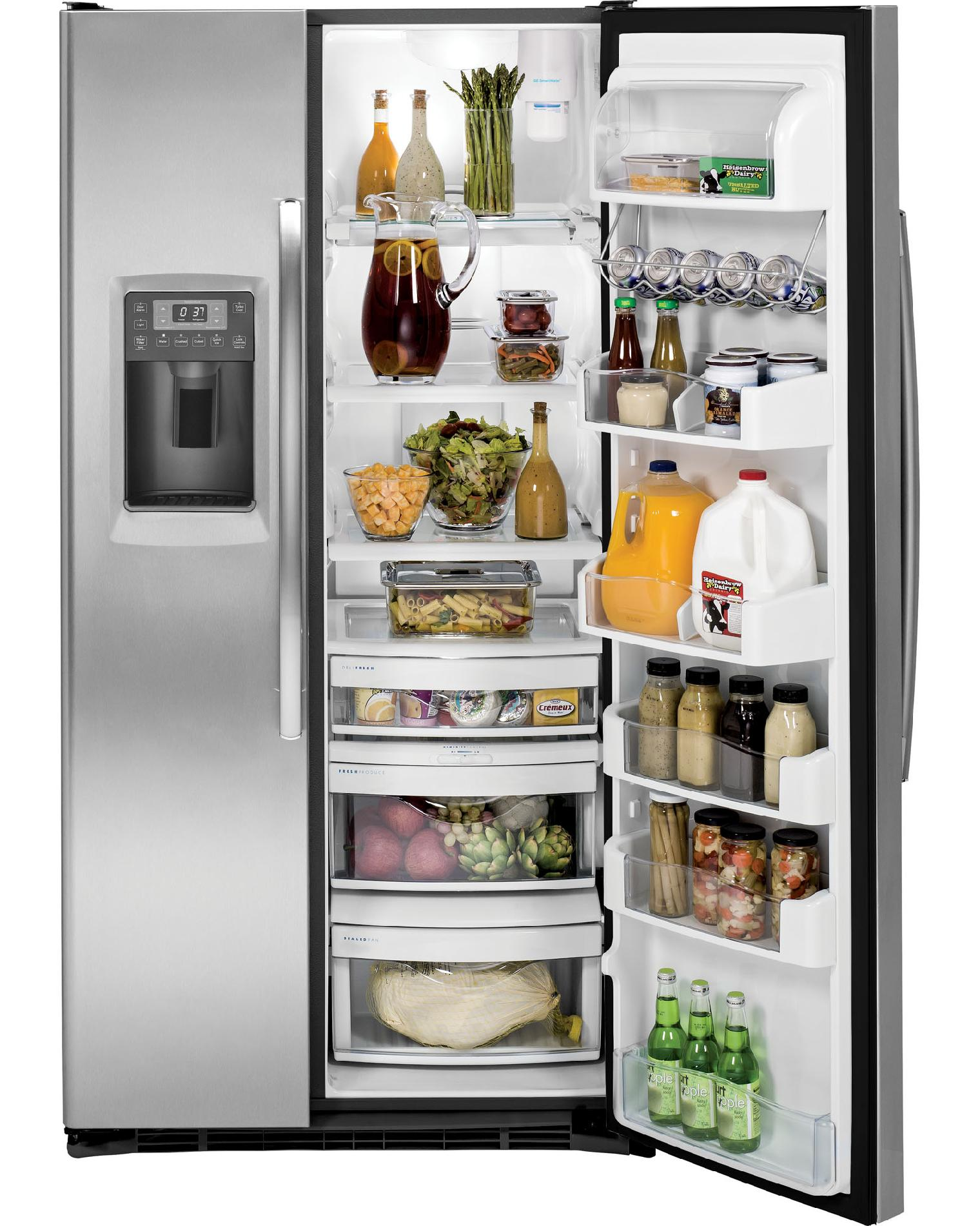 GE Profile 24.6 cu. ft. Counter-Depth Side-by-Side Refrigerator - Stainless Steel