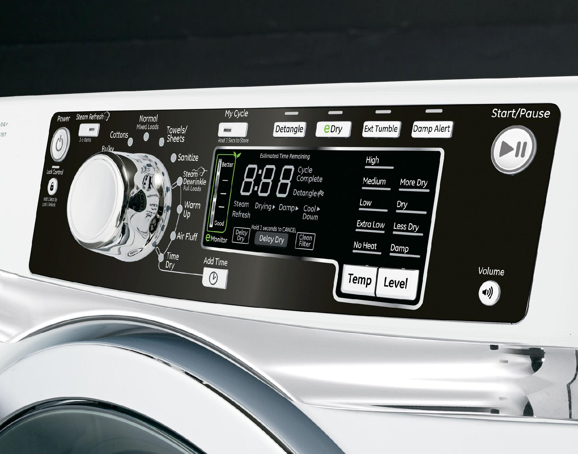 GE Appliances 8.1 cu. ft. Electric Dryer with Steam - White