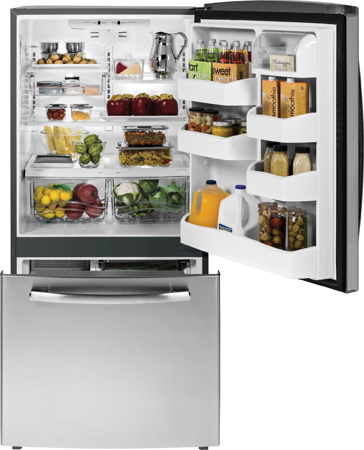 GE 23.1 cu. ft. Single-Door Bottom-Freezer Refrigerator - Stainless Steel