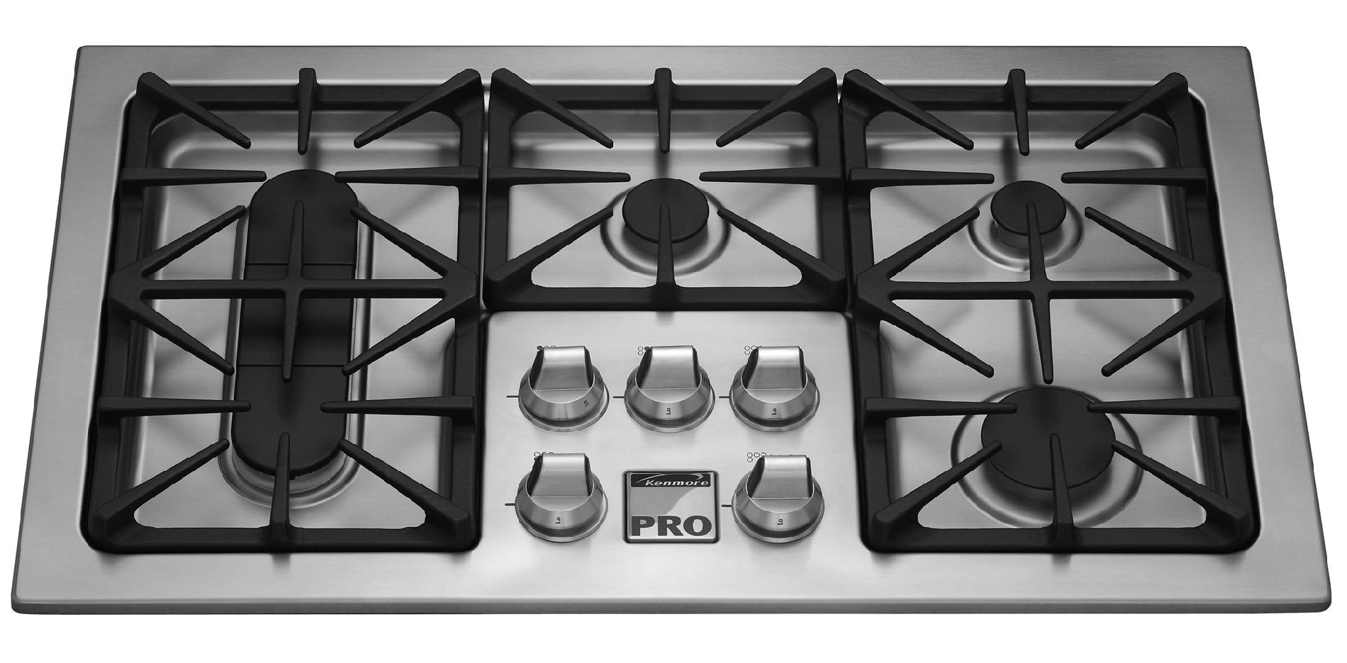 "Kenmore Pro 36"" Gas Drop In Cooktop - Stainless Steel"