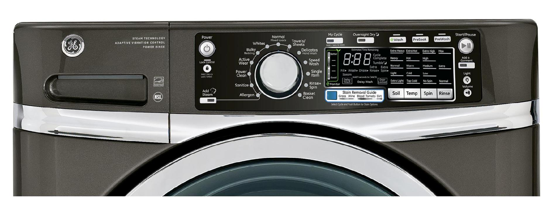 GE 4.8 cu. ft. RightHeight™ Design Front-Load Washer - Metallic Carbon