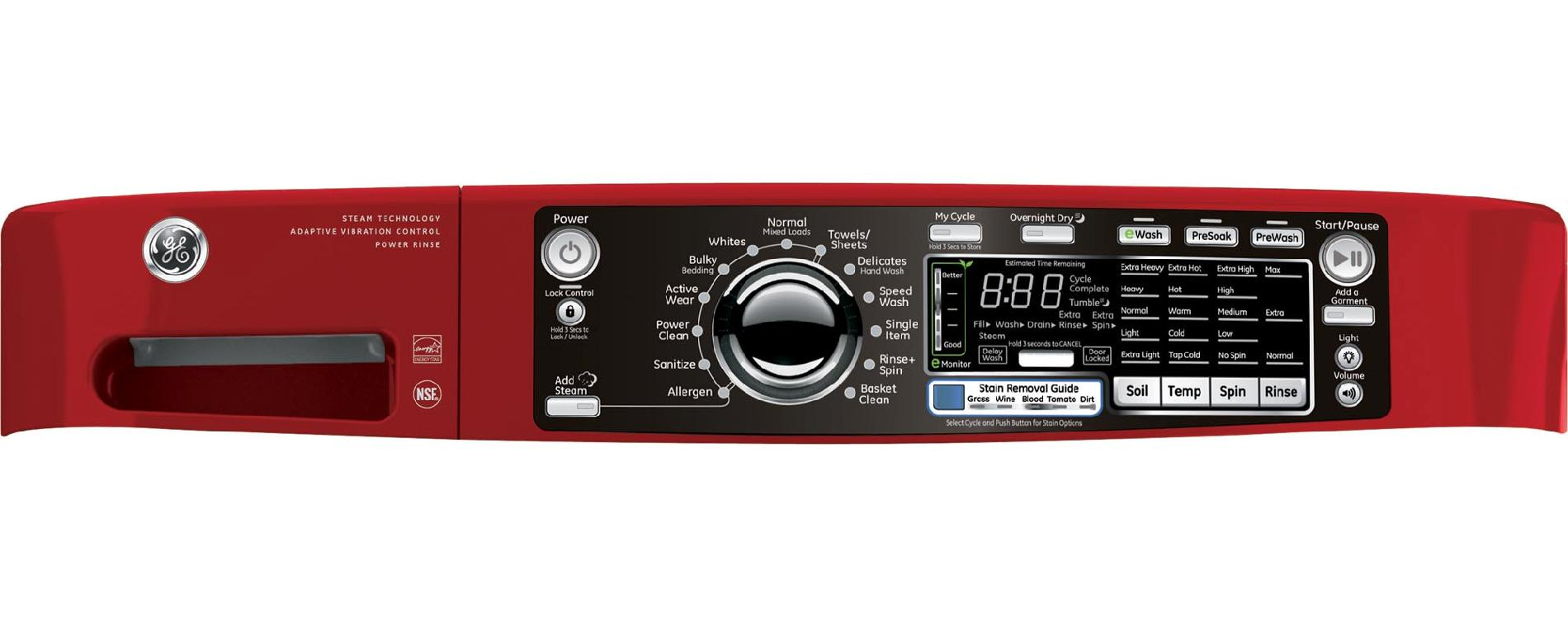 GE 4.8 cu. ft. RightHeight™ Design Front-Load Washer - Red