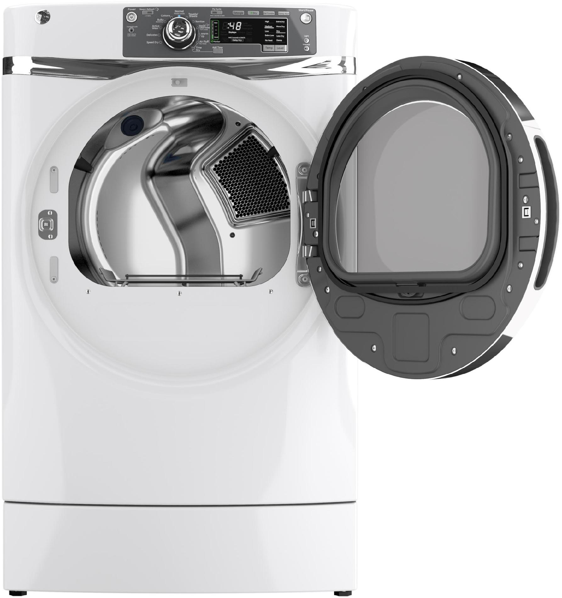 GE Appliances GFDR480GFWW 8.3 cu. ft. RightHeight™ Design Gas Dryer w/ Steam - White