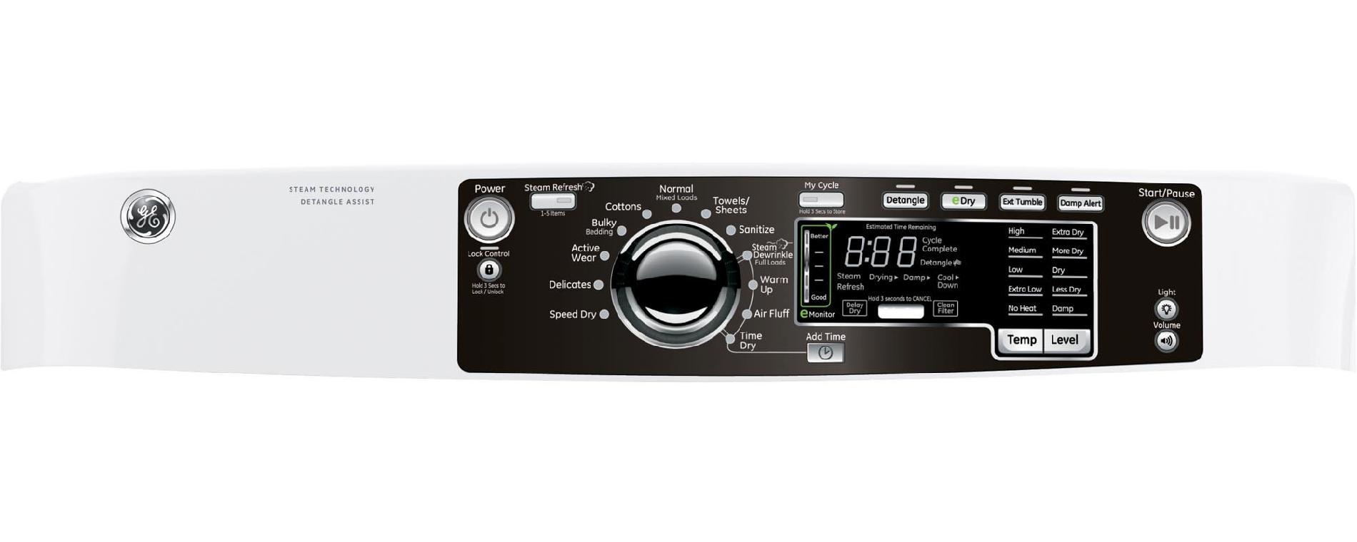 GE 8.3 cu. ft. RightHeight™ Design Gas Dryer w/ Steam - White