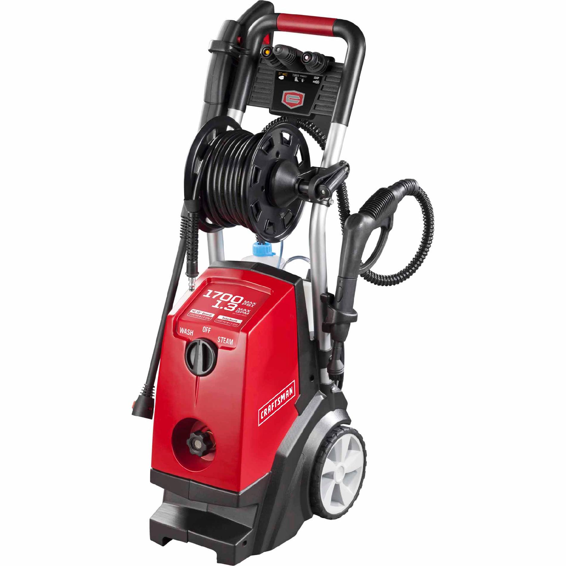 Craftsman 1,700 max PSI, 1.3 max GPM Electric Pressure Washer with Steam Cleaner