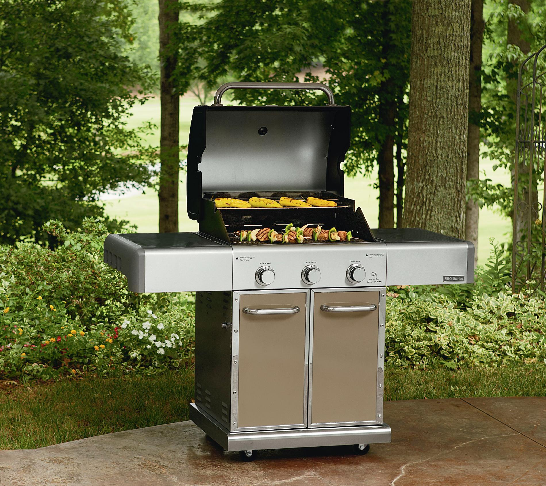 Kenmore Elite 550 Series 3 Burner Dual Fuel Champagne Gas Grill
